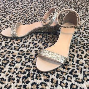 J Crew Platinum Silver Glitter Wedge Sandal 9.5